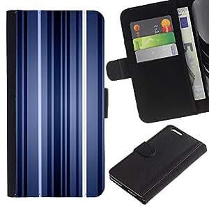 Billetera de Cuero Caso del tirón Titular de la tarjeta Carcasa Funda del zurriago para Apple Iphone 6 PLUS 5.5 / Business Style Stripes Neon Blue Light Wallpaper Lines