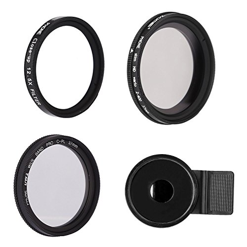 ZOMEI 3 in 1 Clip on Pro CPL+Close Up Filter+ND2-400 ND Fader Filter Kit for iphone Samsung Smartphone + WINGONEER LED - Polarization Mean