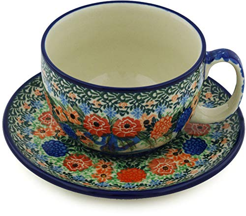 (Polish Pottery 12 oz Cup with Saucer made by Ceramika Artystyczna (Hummingbird Bouquet Theme) Signature UNIKAT + Certificate of)