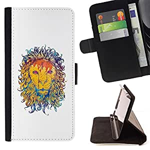 DEVIL CASE - FOR Samsung ALPHA G850 - Majestic Lion Painting - Style PU Leather Case Wallet Flip Stand Flap Closure Cover