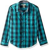 Calvin Klein Big Boys' Radio Bold Check Long Sleeve Shirt with Contrast Trim, Aqua, Large (14/16)