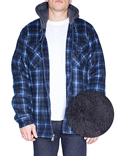 Hoodie Flannel Fleece Jacket For Men Zip Up Big & Tall Lined Sherpa Sweatshirts (3XL-Tall, (Big Brother Hooded Sweatshirt)
