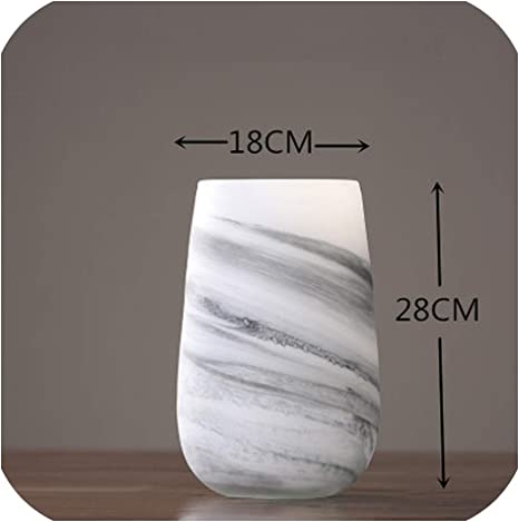 Modern Nordic Style Marble Glass Vase Living Room Dining Table Flower Arrangement Home Decorations Accessories Wedding E Home Kitchen