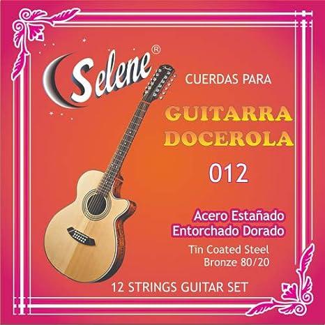 Juego profesional de 12 cuerdas para guitarra, modelo Selene, 012 ...