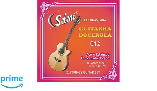 Amazon.com: Professional 12 Strings Guitar Set Selene Model - 012 (Full Set) Cuerdas para Guitarra Docerola, Set de 12 Cuerdas: Musical Instruments