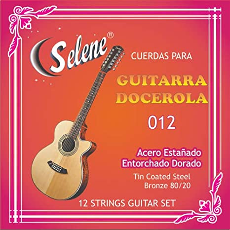 Amazon.com: Professional 12 Strings Guitar Set Selene Model - 012 (Full Set) Cuerdas para Guitarra Docerola, Set de 12 Cuerdas: Musical Instruments