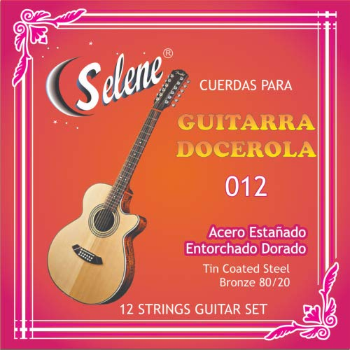 Professional 12 Strings Guitar Set Selene Model - 012 (Full Set) Cuerdas para Guitarra Docerola, Set de 12 Cuerdas