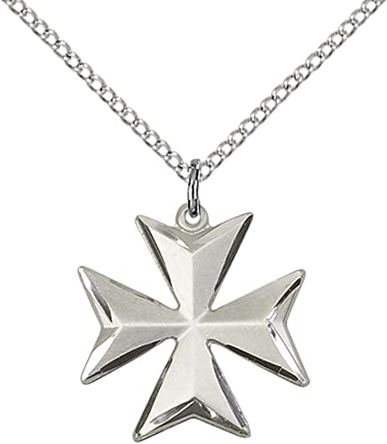 18 Sterling Silver Maltese Cross Pendant Necklace