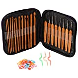 Ergonomic Crochet Hooks Set - Premium Bamboo Handle Crochet Hooks Needles Leather Zipper Carry Case Knit Craft Yarn Organizer Box - 20 Pieces a Pack with Extra Random Color Plastic Accessories