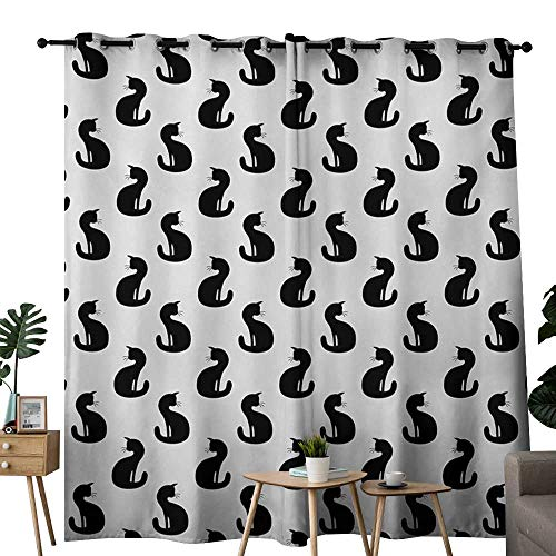NUOMANAN Blackout Curtain Panels Window Draperies Cat,Silhouette of a Kitten Monochrome Feline Pattern House Pet Illustration Halloween,Black White,for Bedroom, Kitchen, Living Room 52