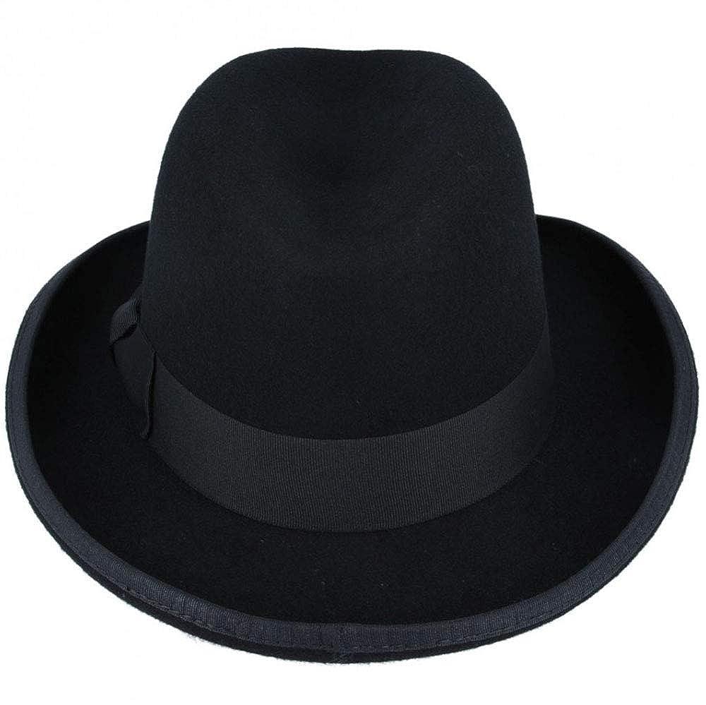 Black Gladwin Bond Official Wool Homburg Bowler Fedora Hat Satin Lined 4 Sizes