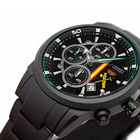 Reloj Aviador Guardia Civil hombre correa acero negro AV-1212-5: Amazon.es: Relojes