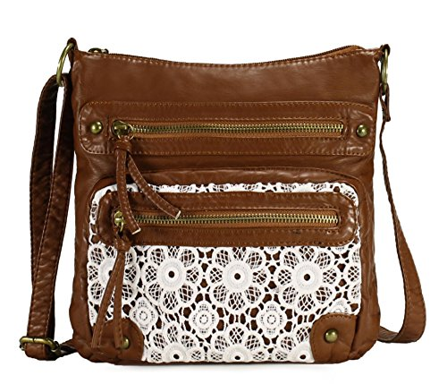 Scarleton Small Lace Crossbody Shoulder Bag for Women, Ultra Soft Washed Vegan Leather, Brown, H191204