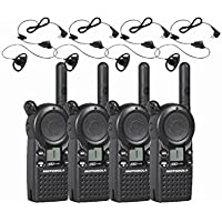 4 Motorola CLS1110 Two Way Radio Walkie Talkie with 4 HKLN4599 PTT Earpieces