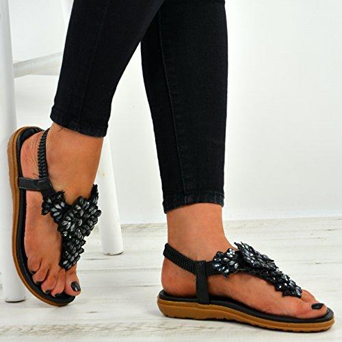Cucu Fashion New Womens Ladies Studded Flower Thong Flat Sandals Peep Toe Sling Back Shoes Black ZzdrFO3sQg