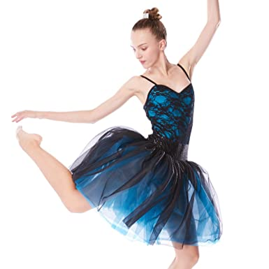 ff4e8632a MiDee Dance Costume 2Pieces Ballet Dress Camisole Lace Leotard & Knee  Length Tutu Skirt (PA