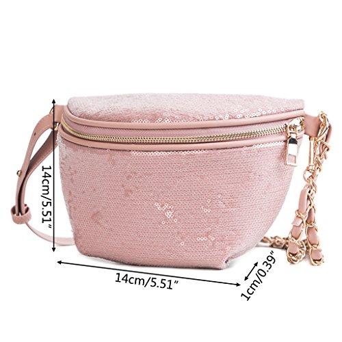 Lamdoo Mujer 51 Caqui Bolsas Approx 39x5 el Pecho con 14x1x14cm para 5 Rosa Color 51x0 para Rosa Lentejuelas rrwZq0