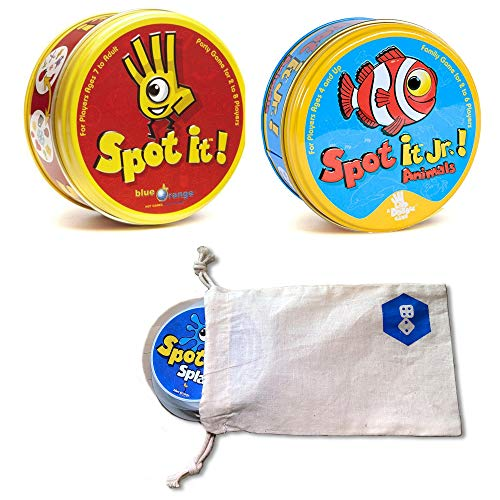 Spot It! Plus Spot It! Jr. Animals | Includes Convenient Drawstring Storage Bag with Game Players Logo Printed