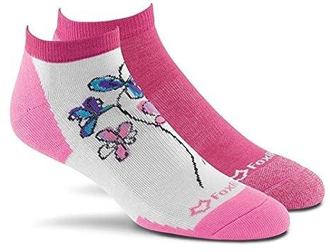 2 Pack 6876  MD 09003 PINK ASST. Assorted Pink Medium Fox River Mills Inc FoxRiver Womens Flowers Scrubs Low-Cut Lightweight Cushioned Socks