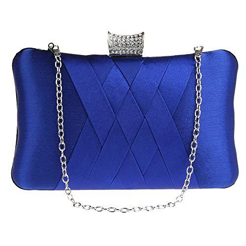(Party Handbag Clutch Womens Vintage Satin Pleated Envelope Evening Cocktail Wedding Blue)