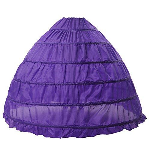 (MISSYDRESS Full A-line 6 Hoops Floor-Length Bridal Dress Gown Slip Petticoat Purple)