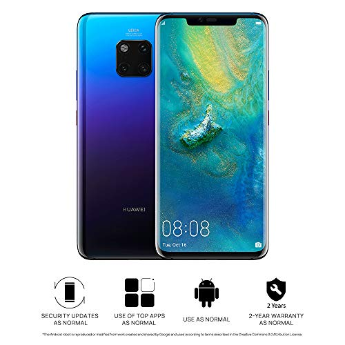 Huawei Mate 20 Pro (GSM Only, No CDMA) Unlocked 6GB RAM 128GB Storage Single Sim LYA-L09 - International Version/No Warranty - Twilight