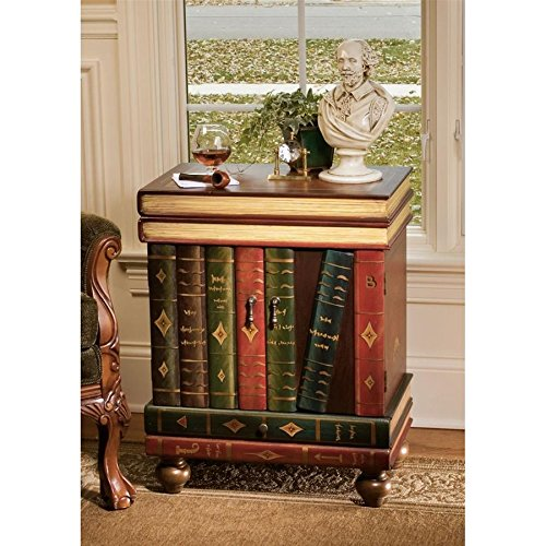 ord Byron Vintage Decor Stacked Books End Table Storage Furniture, 28 Inch, MDF Wood, Full Color ()