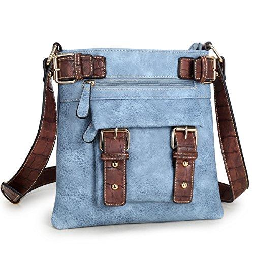 Bag Vintage Mini (Dasein Top Belted Crossbody Bags for Women Soft Leather Messenger Bag Shoulder Bag Travel Purse)