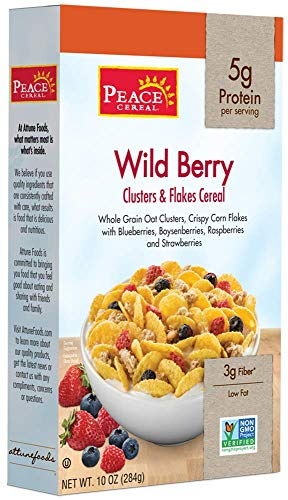 Peace Clusters and Flakes Cereal, Wild Berry Crisp Low Fat, 10 Ounce (Pack of 6)