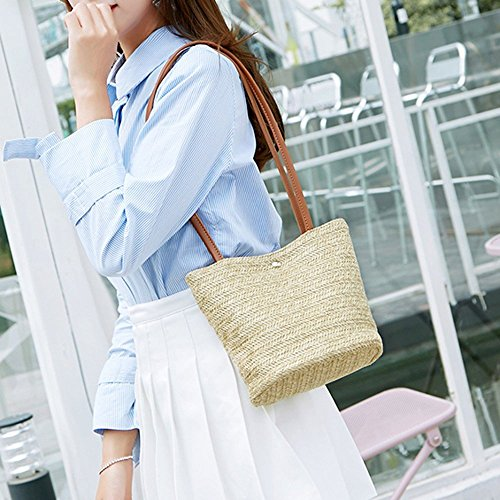 ed85be3d79e2 Clearance TOOPOOT Women Top Handle Straw Bag Shoulder Bag Messenger ...