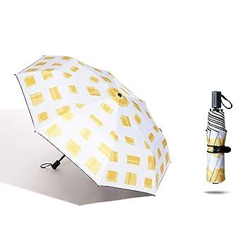 633e84ead Sombrilla Sombrilla Anti-UV Ultraligera Plegable Paraguas Impermeable Protector  Solar Paraguas Unisex (Color : Black White, Tamaño : Five Fold 95 * 56cm):  ...