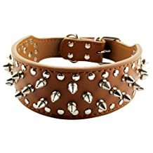 AMC Leather Dog Collar w/ Spikes and Adjustable Buckle, Brown, XS