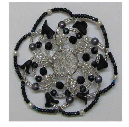 Desert Kippot Woman's Elegant Beaded Wire Kippah Callas in Black Design