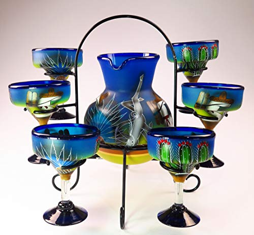 Mexican Margarita Glasses and Pitcher set with display rack, Hand Blown, Hand Painted, Blue with Poncho and Cactus design - Hand Painted Glass Pitcher