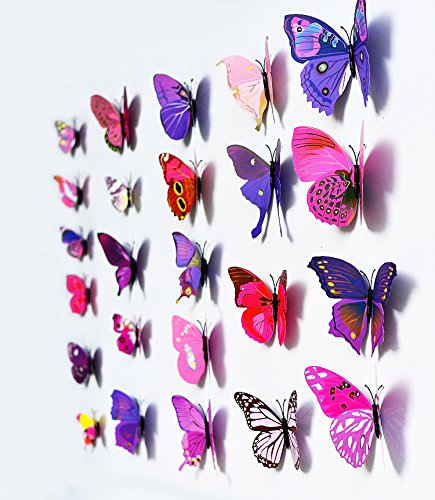 3D Butterfly 12PCS Stickers Making Stickers Wall Stickers Crafts Butterflies (Purple) by UK DEALS