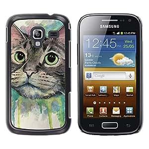 TaiTech / Prima Delgada SLIM Casa Carcasa Funda Case Bandera Cover Armor Shell PC / Aliminium - Pintura del gato feliz - Samsung Galaxy Ace 2