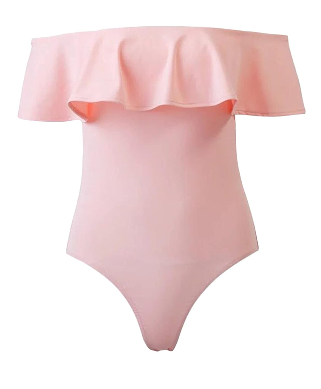 GAGA Women Off Shoulder Ruffles One piece Bodysuit Jumpsuit for sale