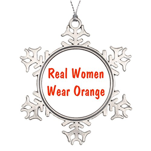 Xmas Trees Decorated Real Women Wear Orange Star Snowflake Ornament Funny (Real Xmas Trees)