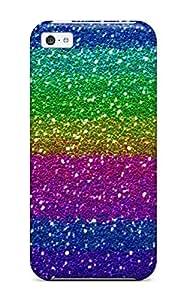 New Style DanielFletcher Hard Case Cover For Iphone 5c- Glittery Rainbow Stripe