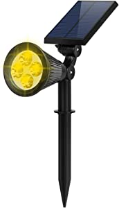 FALOVE Solar Spot Lights Outdoor, 2-in-1 Wall/Ground Light Solar Flag Pole Light Adjustable Landscape Light Security Lighting Auto On/Off for Wall Patio Deck Yard Garden Driveway Pool - 1 Pack Warm