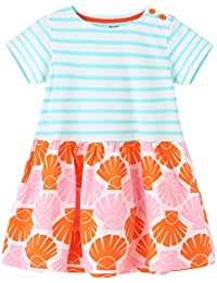 Girls Dresses,Short Sleeve Summer Cotton Striped Cute Print Pattern Casual Dress for Toddler