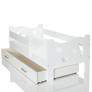 LCP Kids Lit Enfant X Cm Bois Blanc Rangement Avec Barrière De - Lit avec grand rangement