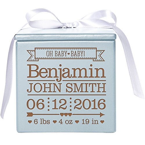 LifeSong Milestones Personalized Baby Birth Announcement Jewelry Storage Keepsake Box for Newborn Boys and Girls Custom Engraved with Names and Weight and Birth Date (Blue) from LifeSong Milestones