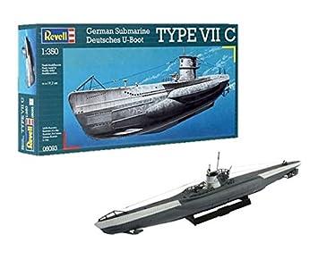 Revell- U-Boat Maqueta Submarino alemán Type VII C, Kit Modello Escala 1:350 (5093) (05093),, 19,2cm de Largo (: Amazon.es: Juguetes y juegos