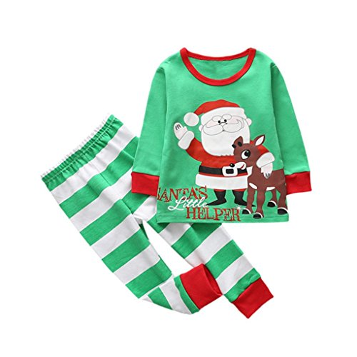 2017 Hot Sale,YANG-YI Autumn Winter Toddler Kids Baby Girl Boy Christmas Deer Outfits T-shirt Tops+Pants Set (Green-B, (Exchange La Halloween 2017)