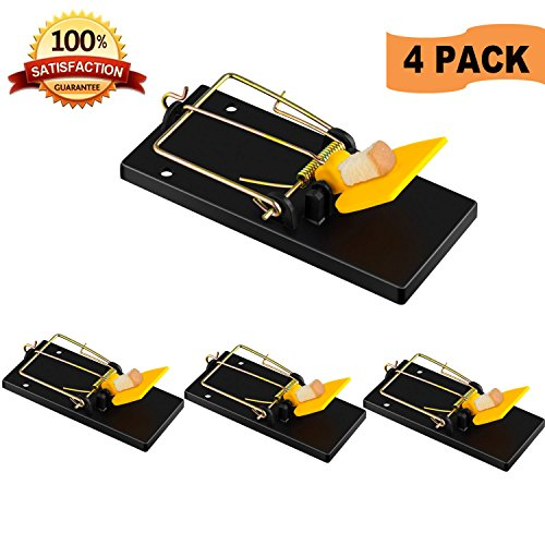Rat Enemy Mouse Trap, Snap Traps That Work Power Mouse Killer, Sensitive and Reusable Outdoor Rodent Control (4 Pack)