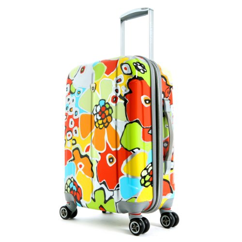 Olympia Luggage Blossom 21 Inch Expandable Hard Case Carry-On Bag, Aqua, One
