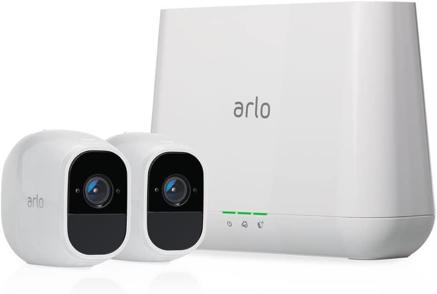Arlo Pro 2 Home Security Camera System (2 pack) with Siren, Wireless, Rechargeable, 1080p HD, Audio, Indoor or Outdoor, Night Vision, Compatible with Alexa (VMS4230P) (Renewed)