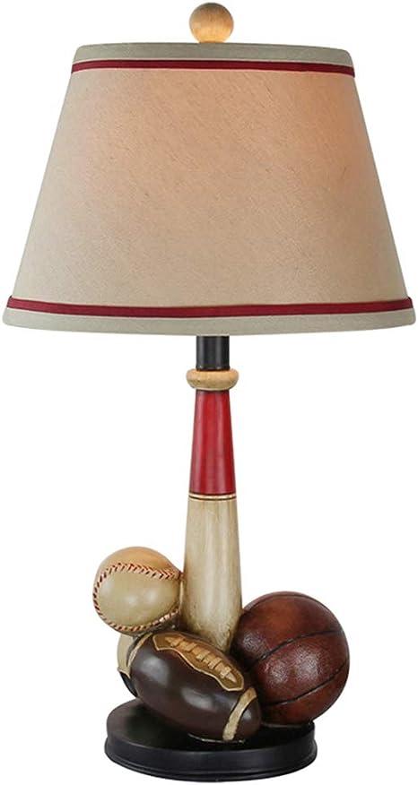Lámpara de lectura BJL Lámpara de mesa de noche, lámpara de escritorio de estudio de resina de baloncesto estadounidense, lámpara de mesa creativa retro con pantalla de tela, E27-40W (no incluido) Tam: