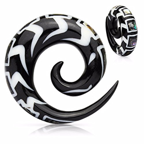 Bone Inlay Body Jewelry Tunnels - Spiral Organic Horn WildKlass Taper with Abalone & Bone Inlay (Sold as a Pair)